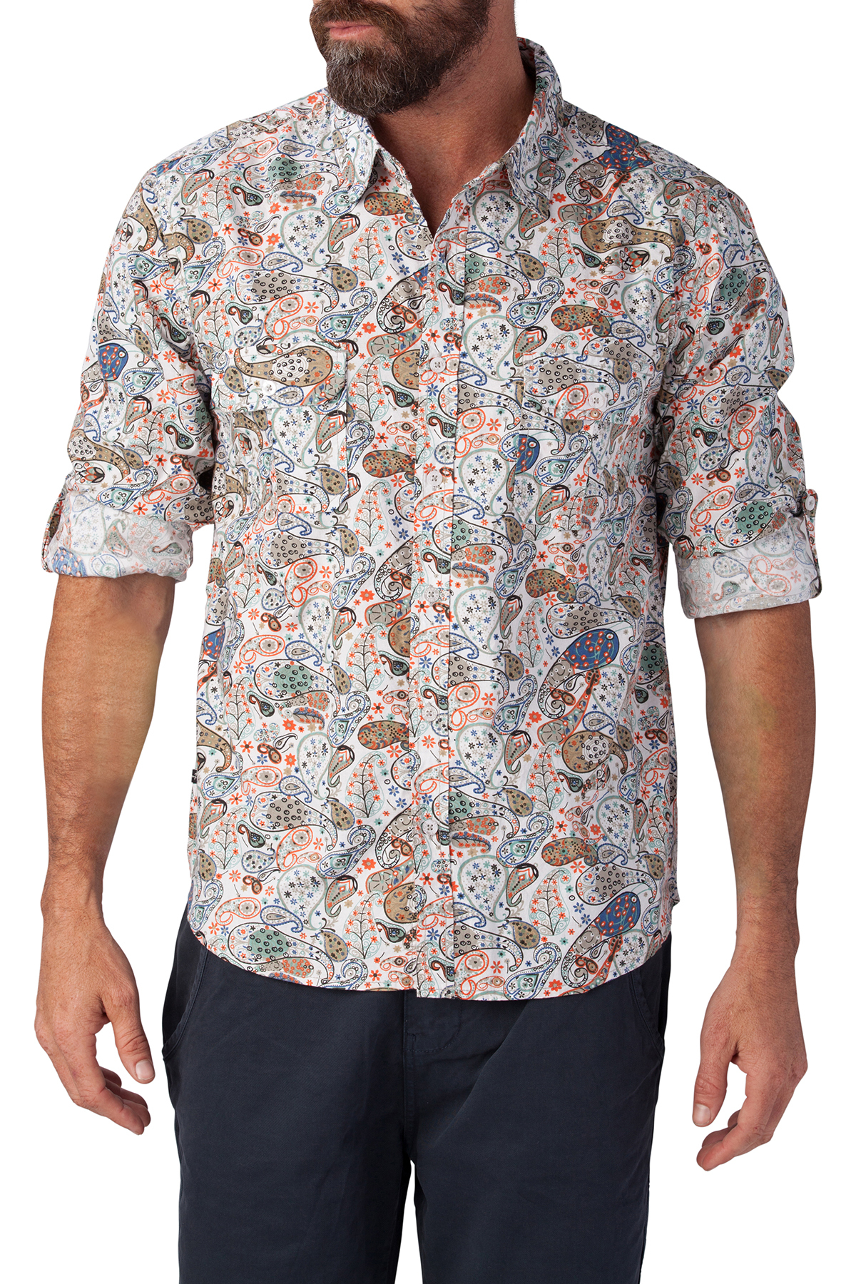 seven7 jeans multi paisley button down shirt
