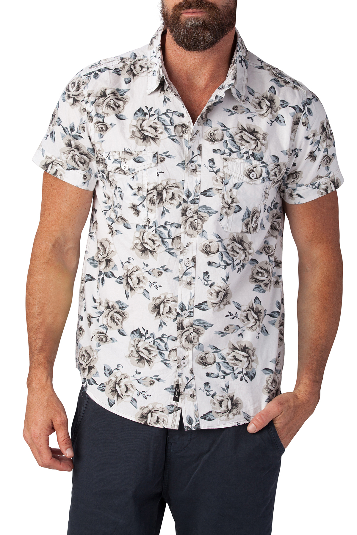seven7 jeans floral button down shirt