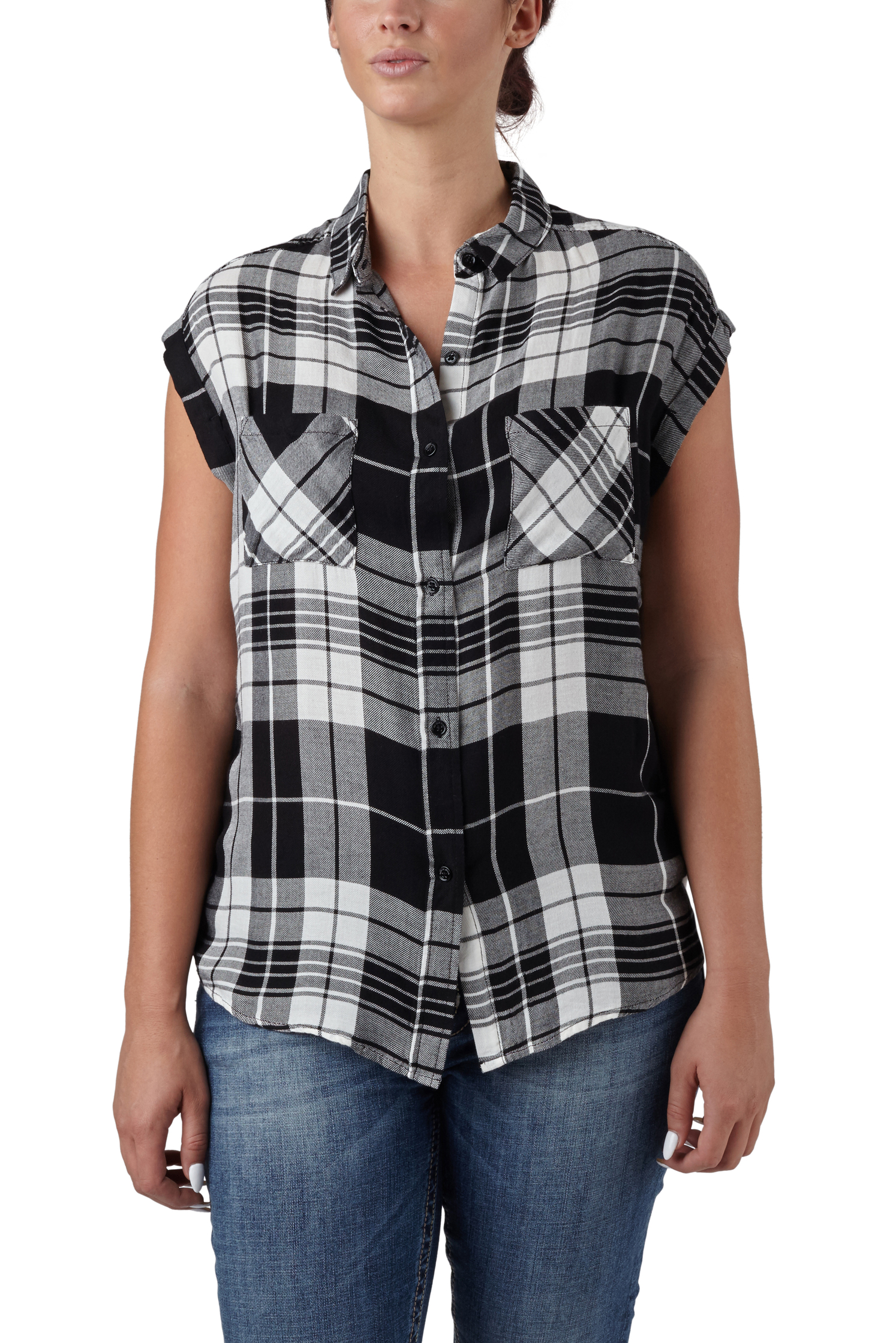 seven7 jeans cap sleeve relaxed plaid