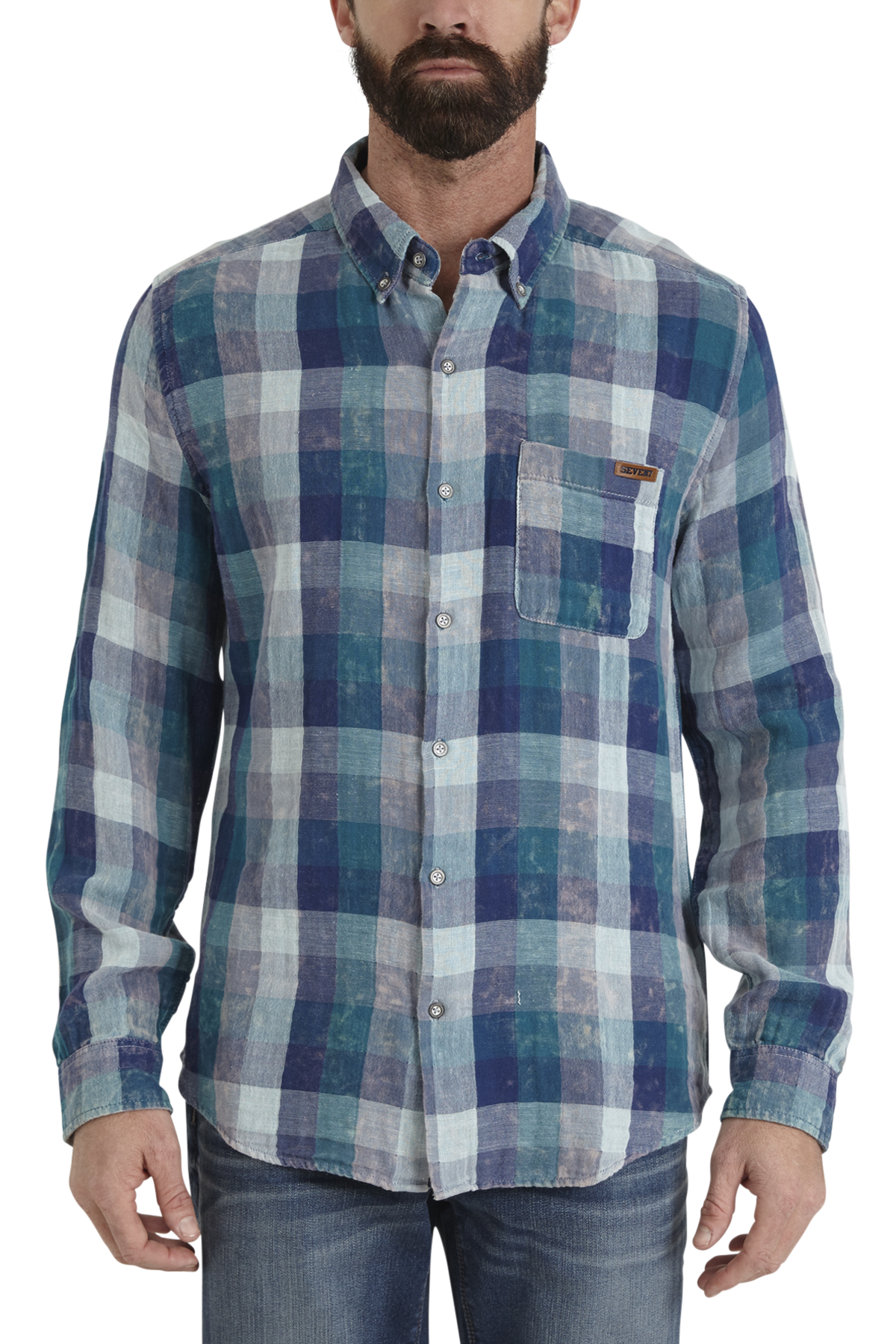 seven7 jeans one pocket face plaid shirt
