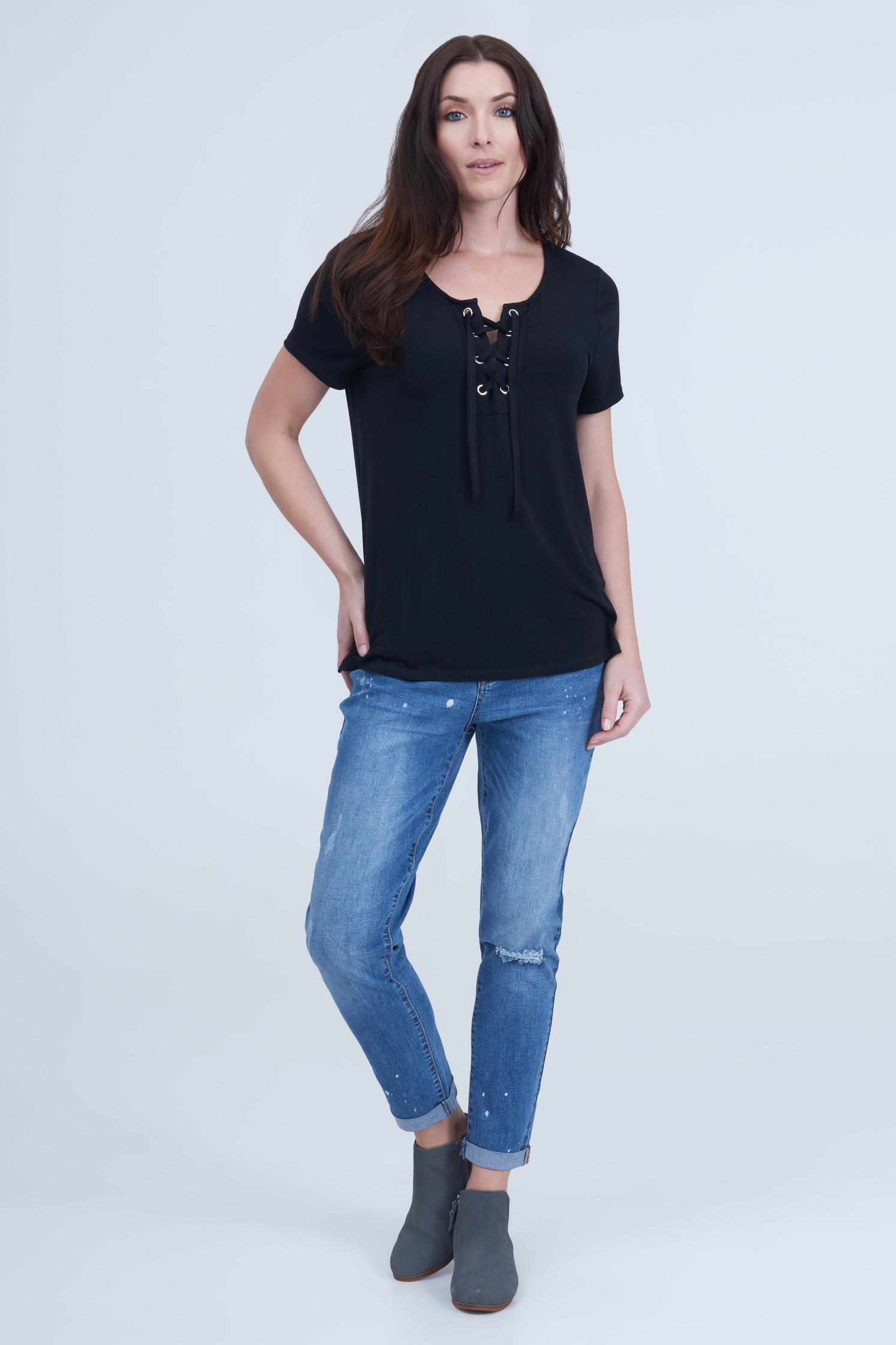 seven7 jeans lace up commet tee