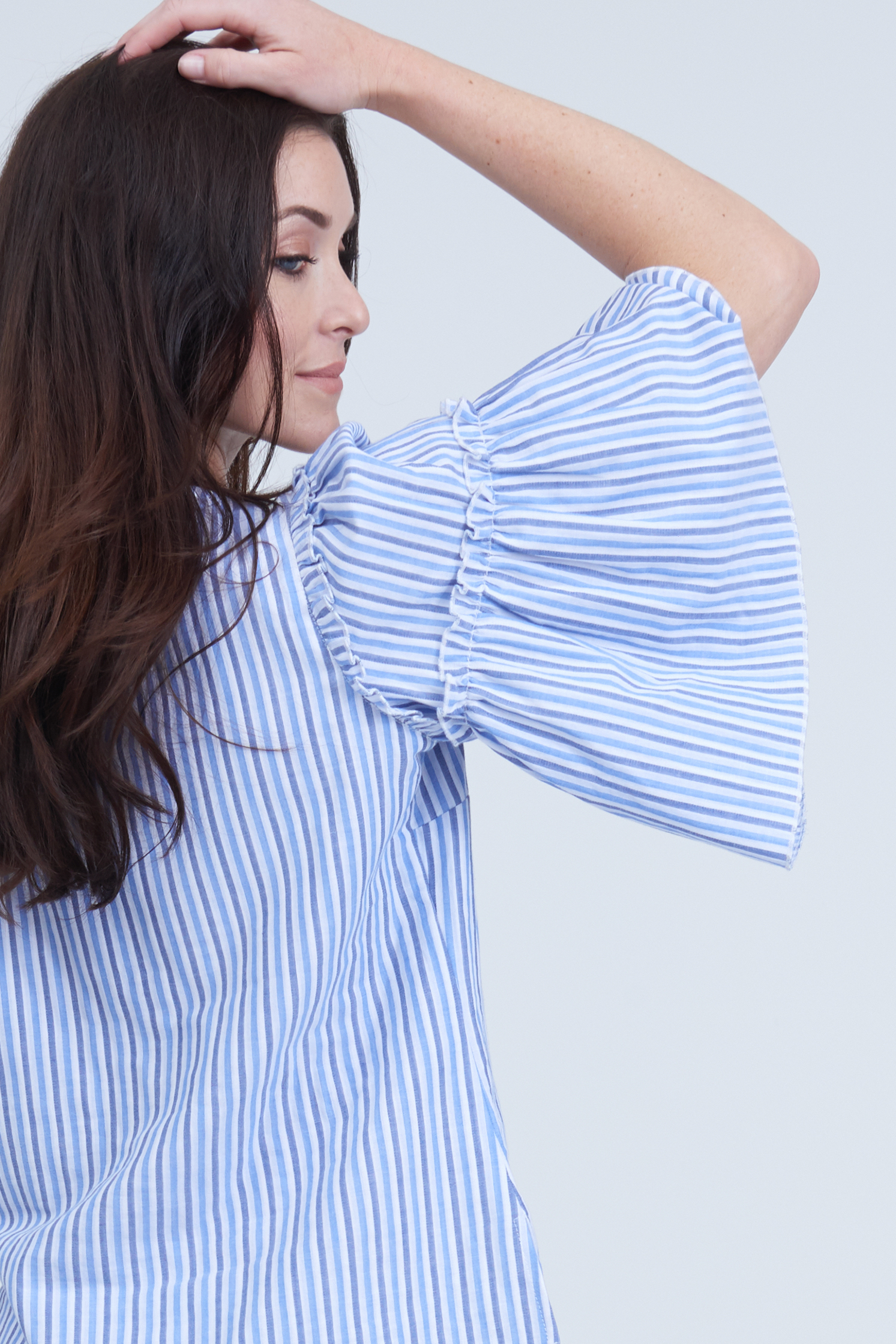 seven7 jeans striped peplum sleeve top