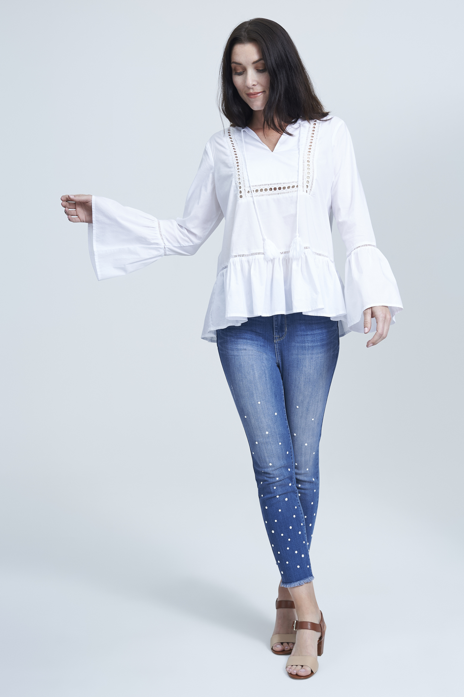 seven7 jeans tie neck bell sleeve blouse