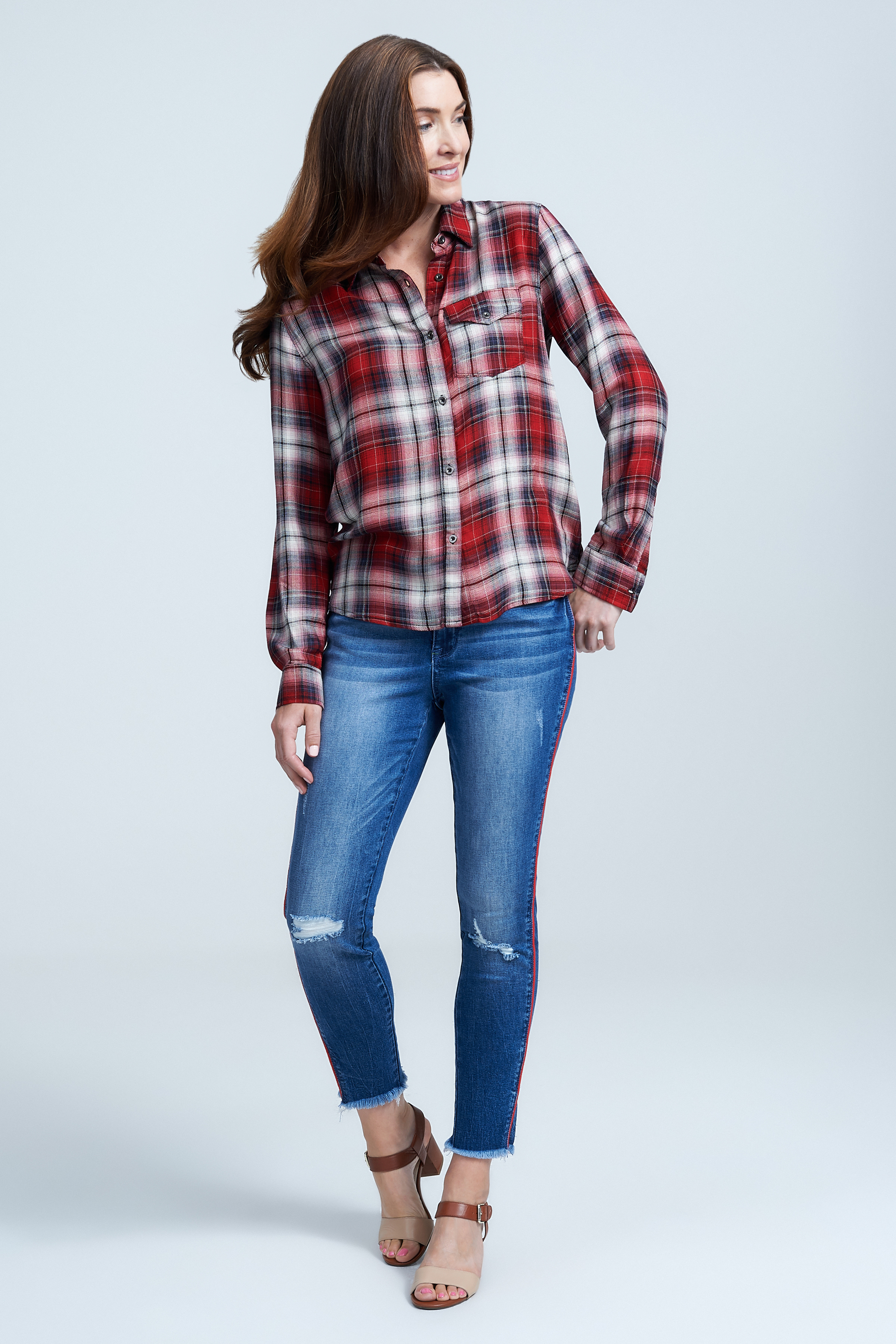 Seven7 Jeans Perfect Plaid Shirt <p>Lightweight and effortless, this plaid button-up shirt is a true classic that will never go out of style. It's detailed with a pocket at the chest and drops lower at the back hem for a supremely flattering shape.</p>