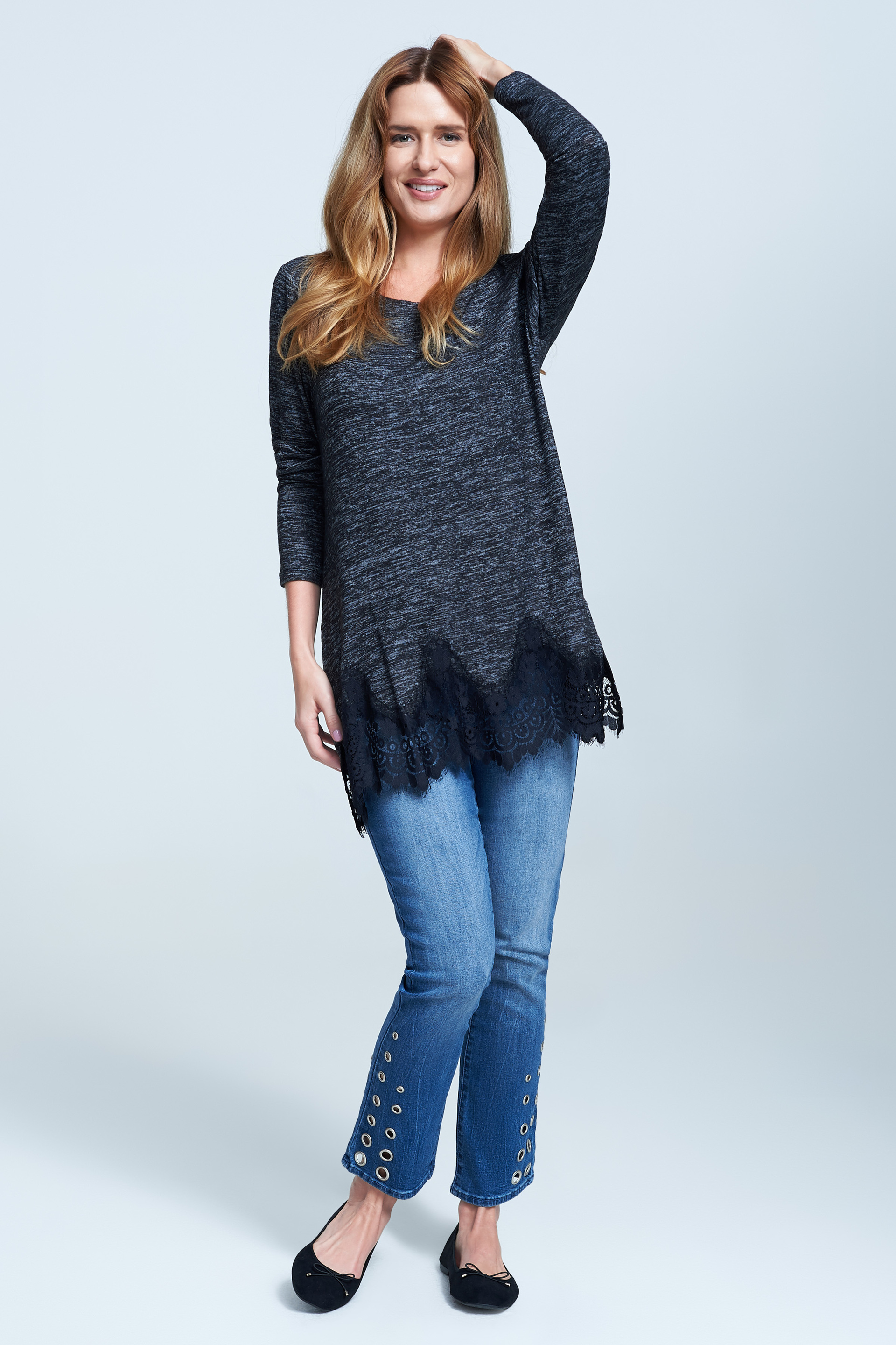 seven7 jeans knit top with lace trim