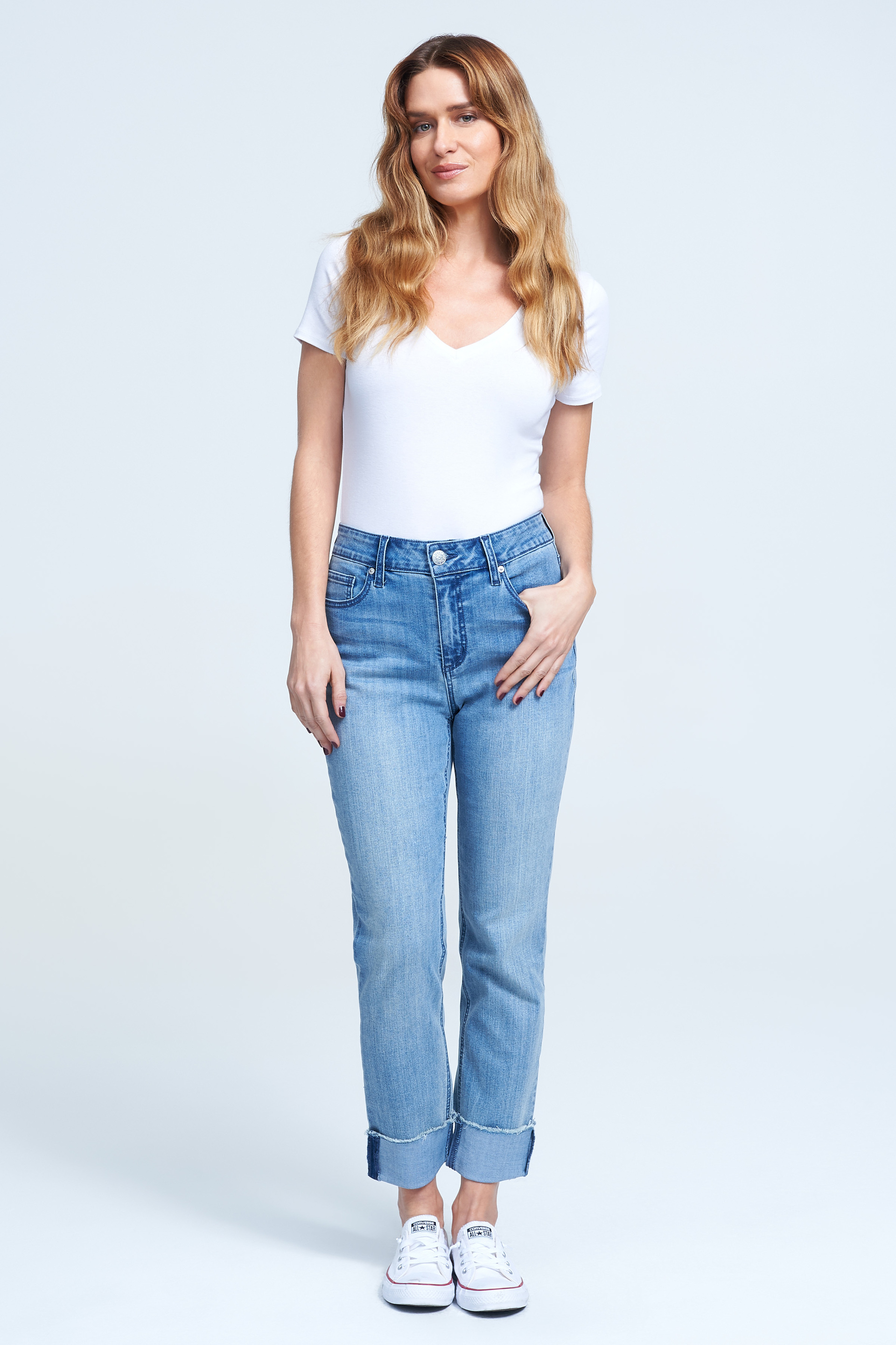 Seven7 Jeans High Rise Cuffed Slim Straight Jean <p>Effortless cool is what these slim-straight jeans do best. Crafted from stretch denim in a faded light-blue wash, the high-waisted pair features a '90s-inspired fit styled with cuffed hems and raw edges for that easygoing vintage look we all love.</p>