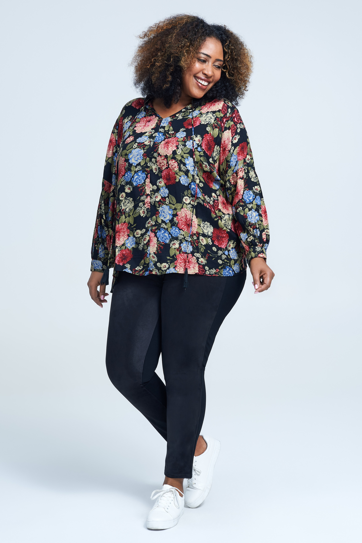 seven7 jeans tie front floral tassel top
