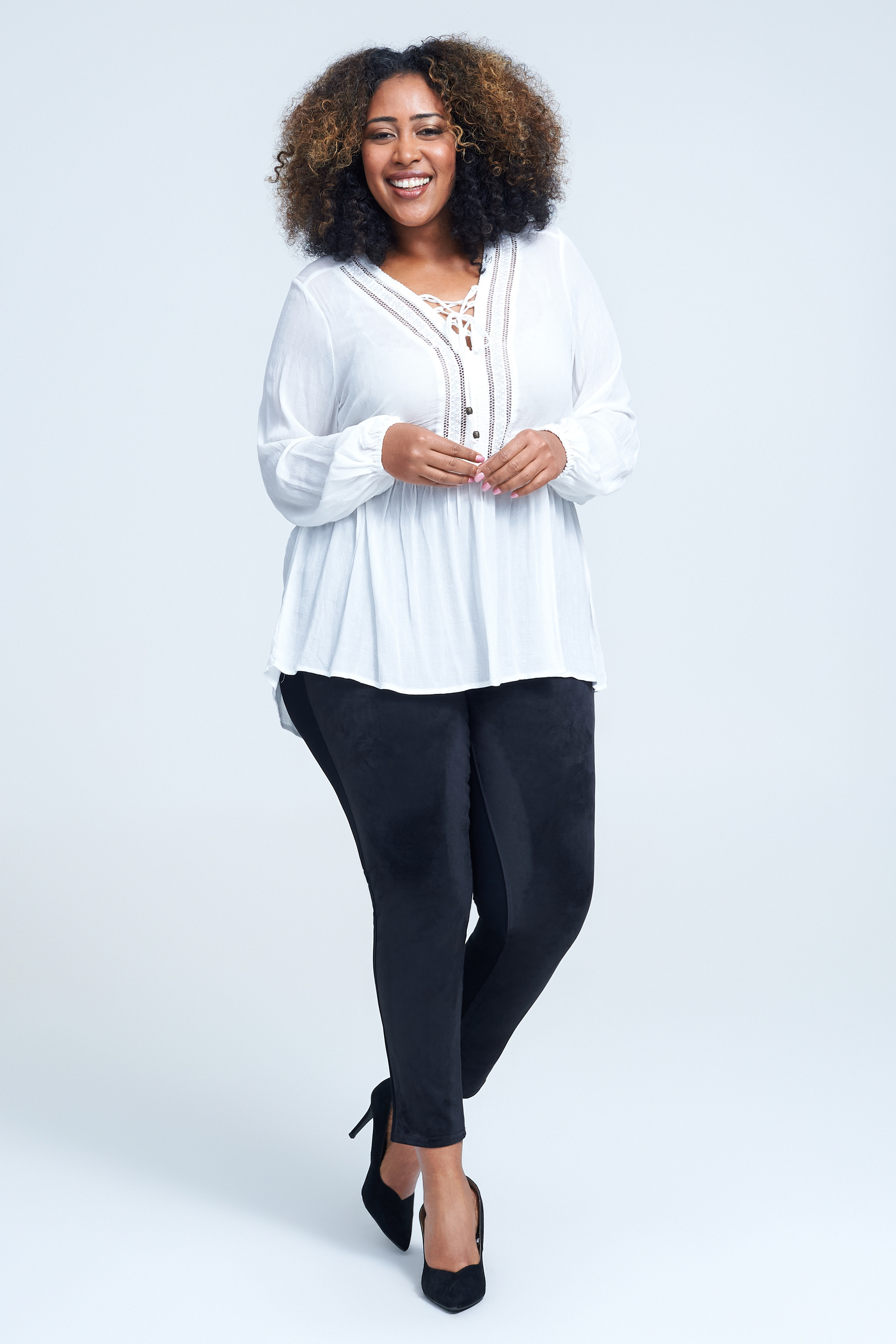 Seven7 Jeans Lace Up Crinkled Jacquard Top <p>Peekaboo trim adds an alluring touch to this flowy jacquard blouse designed with lace-up styling and billowy long sleeves.</p>