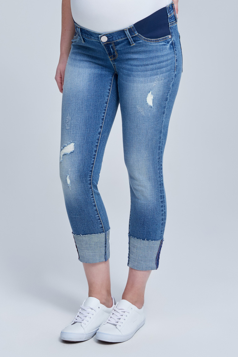 41ab9ca53c4 Limited Edition Side Panel High Tower Skinny Maternity Jean in Garden