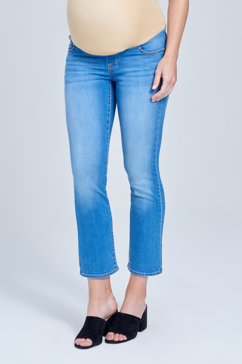 4478f1bfe0668 Over the Belly Mid Rise Ankle Boot Maternity Jean in Karma Wash